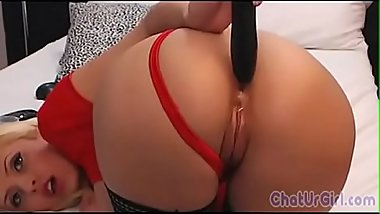 Horny Penetrates her tight ass with big toy