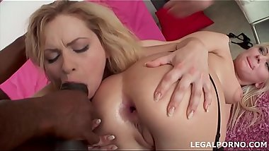 Interracial anal orgy gives blonde sluts Nataly &amp_ Angel Black cream farts