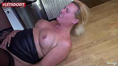 LETSDOEIT - German Cougar Abuses a Young Big Cock
