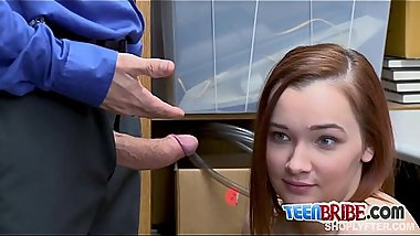 Redhead April gets doggystyled by horny officer once she'_s caught stealing