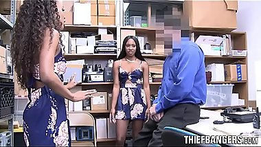 Ebony Teens Caught Stealing Spread Pussies To Avoid Punishment