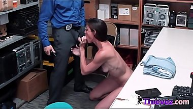 Naughty Sofie is caught by horny officer