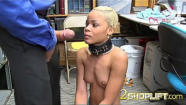Officer puts a leash on Arie as he subdues her into taking his cock